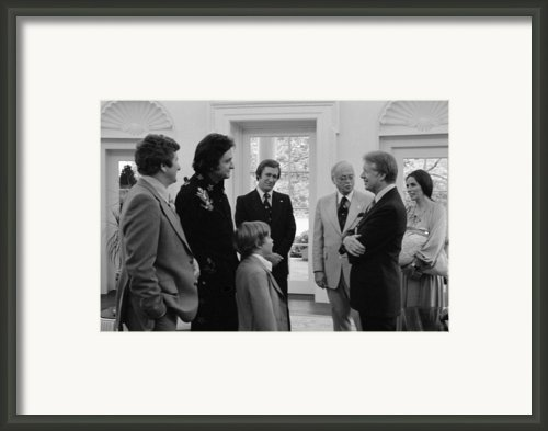 Jimmy Carter With Johnny Cash Framed Print By Everett