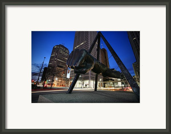 Joe Louis Fist Statue Jefferson And Woodward Ave. Detroit Michigan Framed Print By Gordon Dean Ii