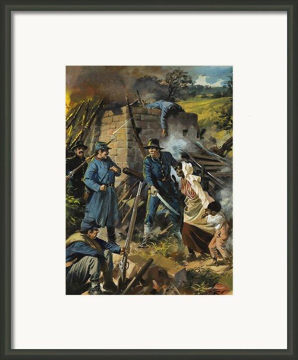 John Brown On 30 August 1856 Intercepting A Body Of Pro-slavery Men Framed Print By Andrew Howart