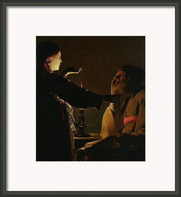 Jospeh And The Angel Framed Print By Georges De La Tour