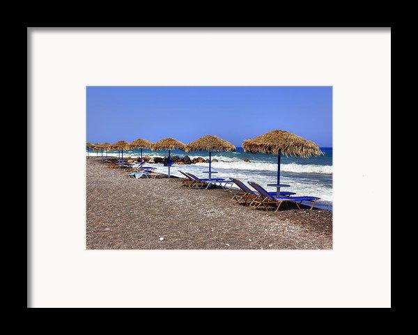 Kamari - Santorini Framed Print By Joana Kruse