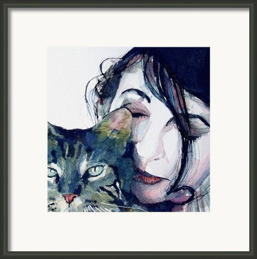 Kate And Her Cat Framed Print By Paul Lovering