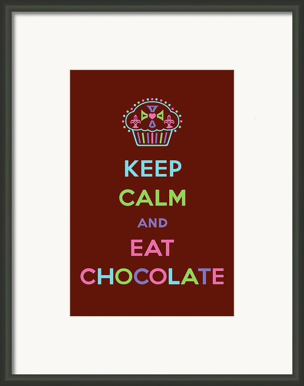 Keep Calm And Eat Chocolate Framed Print By Andi Bird