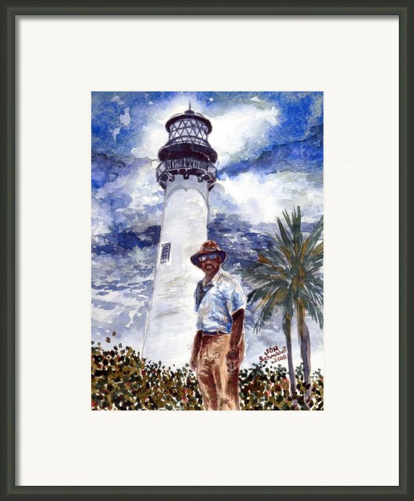 Keeper Of The Cape Florida Lighthouse Framed Print By Jon Schaubhut