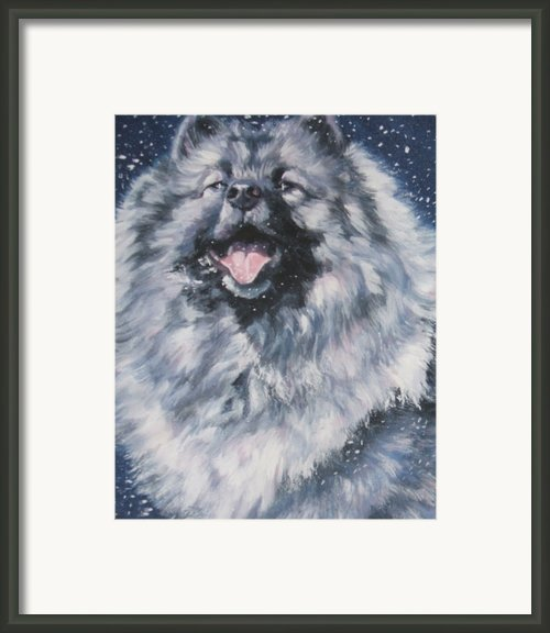 Keeshond In Snow Framed Print By Lee Ann Shepard