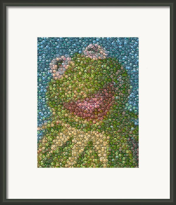 Kermit Mt. Dew Bottle Cap Mosaic Framed Print By Paul Van Scott