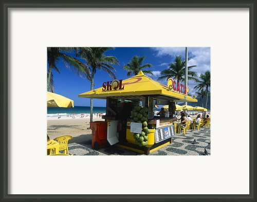 Kiosk On Ipanema Beach Framed Print By George Oze