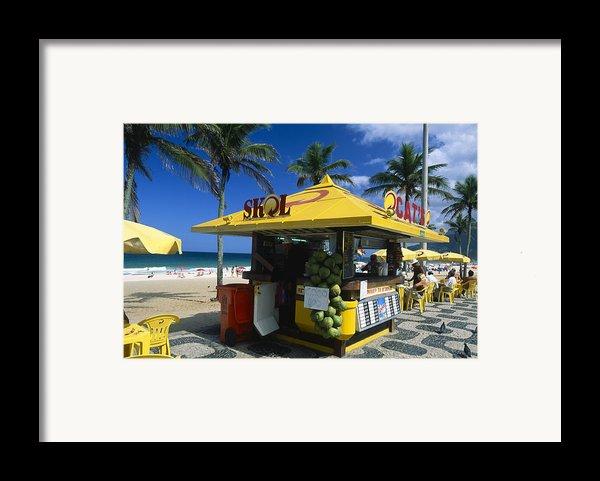 Kiosk On Ipanema Beach Framed Print By George Oze