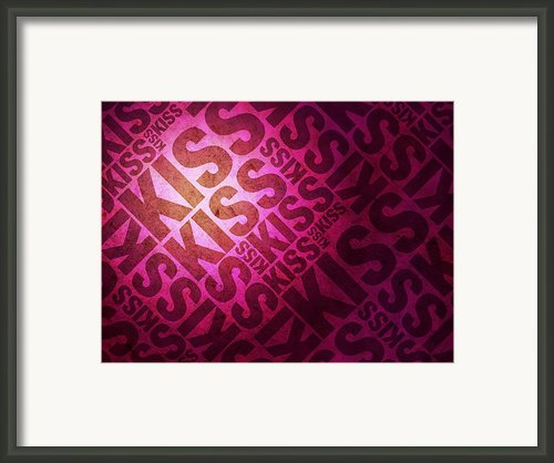 Kiss Kiss Words On Pink Framed Print By Michael Tompsett
