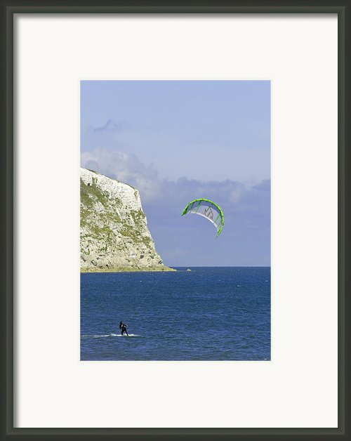Kite-surfer At Yaverland Framed Print By Rod Johnson