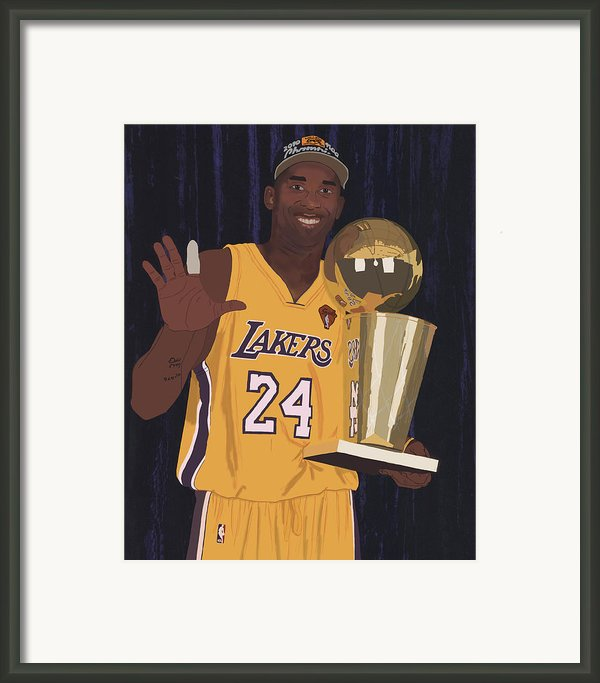 Kobe Bryant Five Championships Framed Print By Tomas Raul Calvo Sanchez