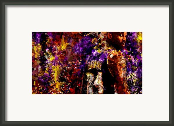Kobe Bryant Looking Back Signed Prints Available At Laartwork.com Coupon Code Kodak Framed Print By Leon Jimenez