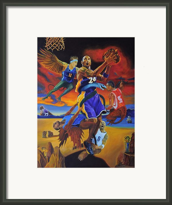 Kobe Defeating The Demons Framed Print By Luis Antonio Vargas