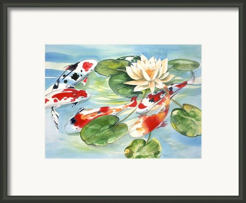 Koi In The Water Lilies Framed Print By Ileana Carreno
