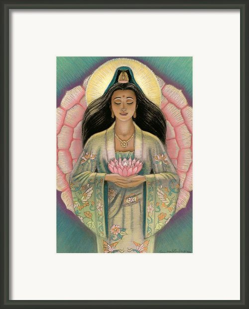 Kuan Yin Pink Lotus Heart Framed Print By Sue Halstenberg