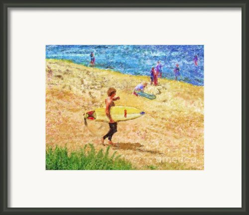 La Jolla Surfers Framed Print By Marilyn Sholin