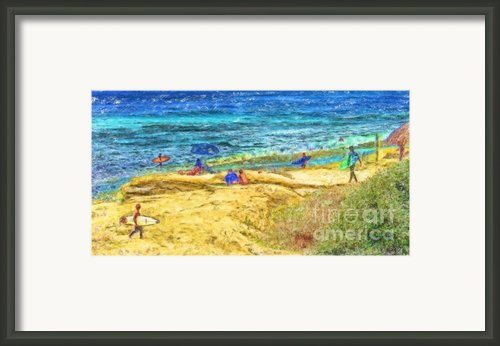 La Jolla Surfing Framed Print By Marilyn Sholin