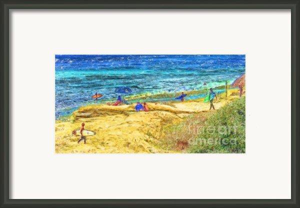 La Jolla Surfing Framed Print By Marilyn Sholin