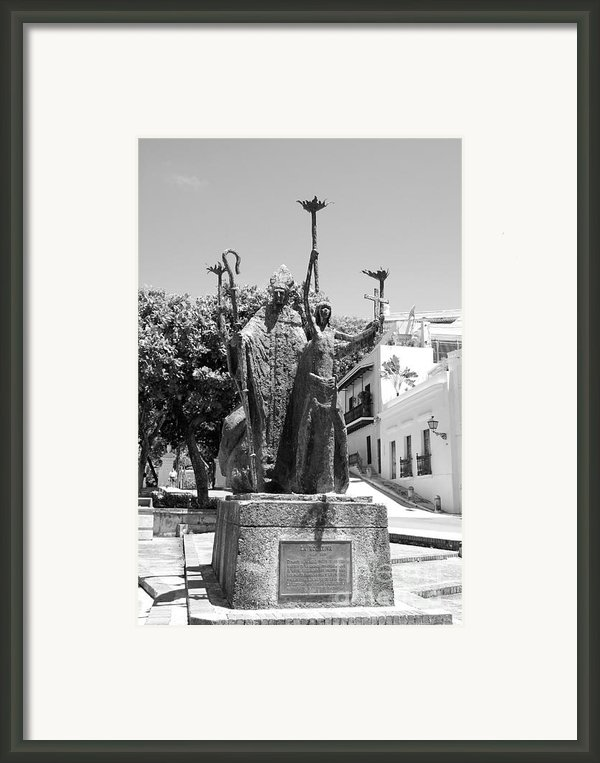 La Rogativa Sculpture Old San Juan Puerto Rico Black And White Framed Print By Shawn O