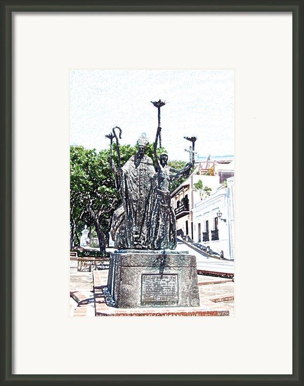 La Rogativa Sculpture Old San Juan Puerto Rico Colored Pencil Framed Print By Shawn O