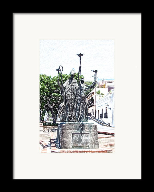 La Rogativa Sculpture Old San Juan Puerto Rico Colored Pencil Framed Print By Shawn O