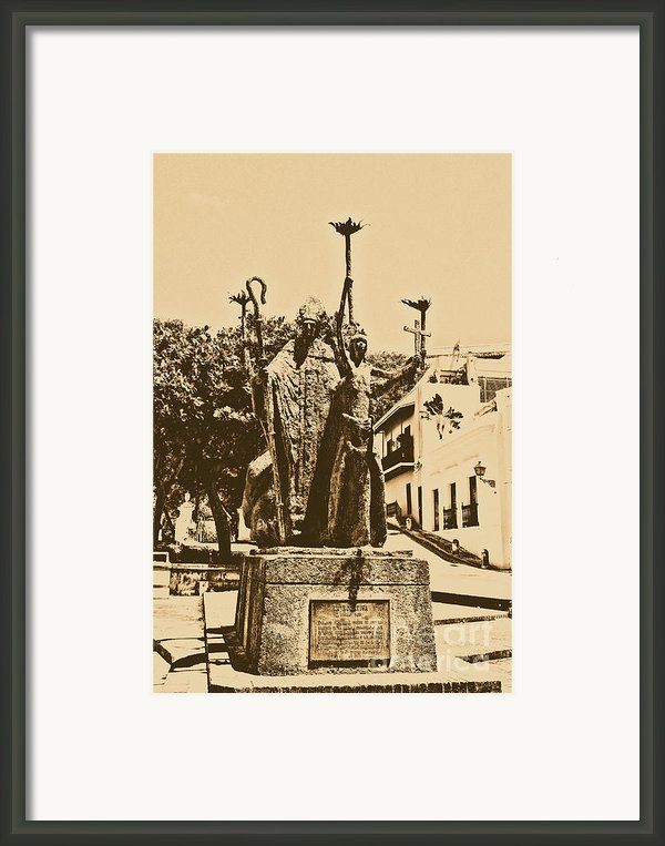 La Rogativa Sculpture Old San Juan Puerto Rico Rustic Framed Print By Shawn Obrien