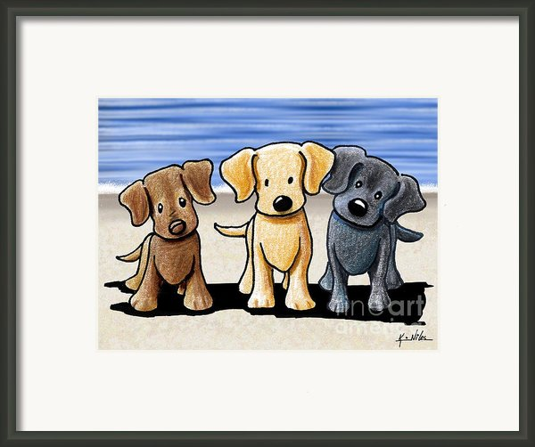 Labrador Beach Trio Framed Print By Kim Niles