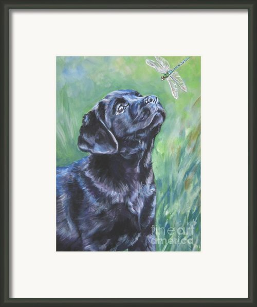 Labrador Retriever Pup And Dragonfly Framed Print By L A Shepard