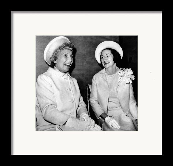 Lady Bird Johnson And Muriel Humphrey Framed Print By Everett