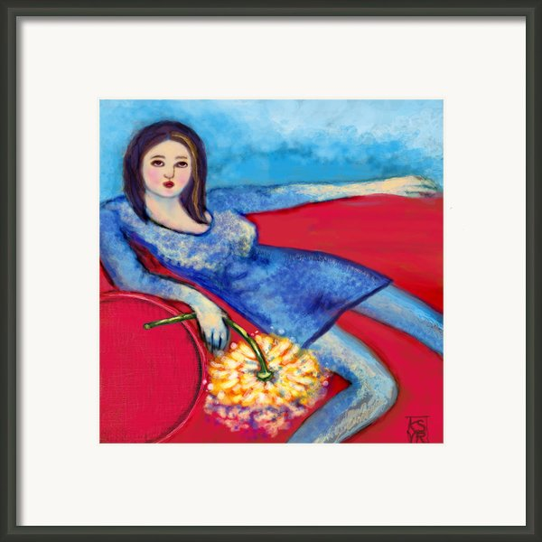 Lady In Blue Framed Print By Kimberly Van Rossum