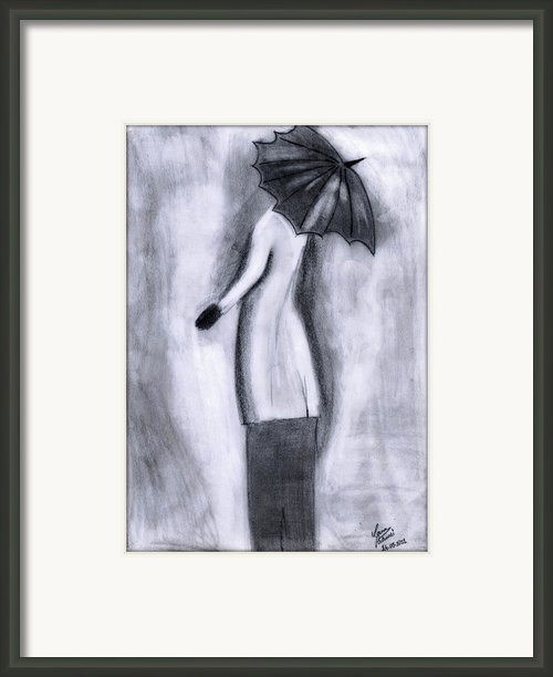 Lady In Rain Framed Print By Gaurav Patwari