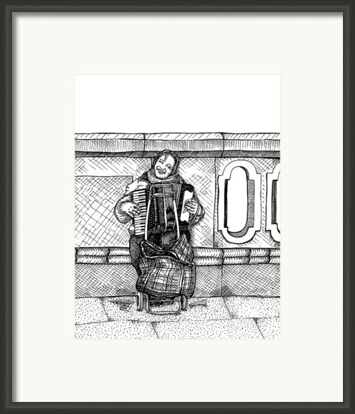 Lady Playing An Accordion Framed Print By Karl Addison