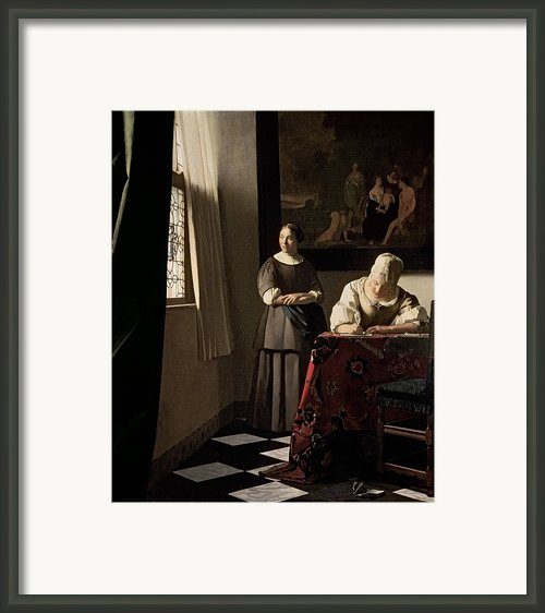 Lady Writing A Letter With Her Maid Framed Print By Jan Vermeer