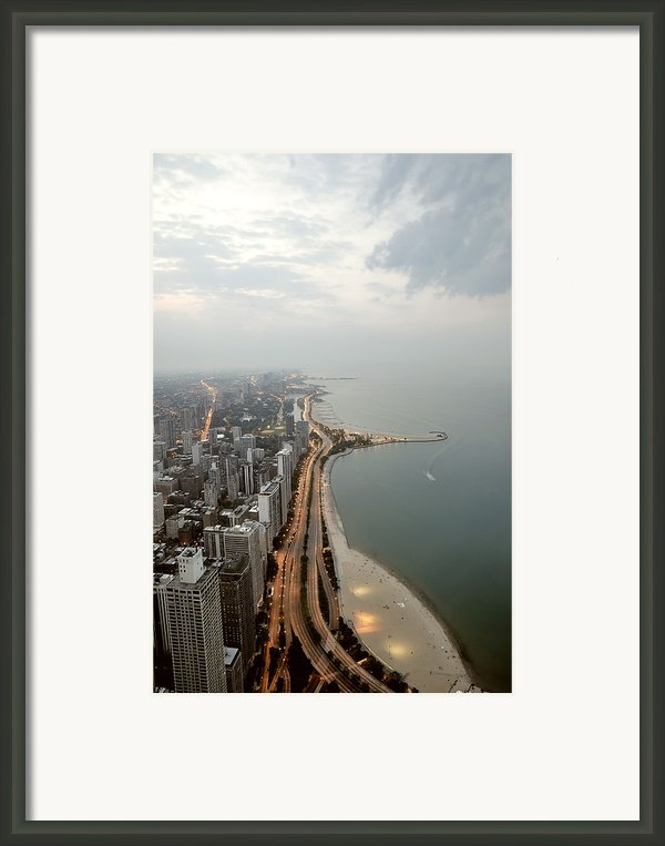 Lake Michigan And Chicago Skyline. Framed Print By Ixefra