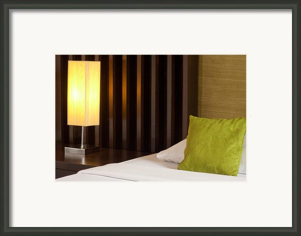 Lamp And Bed Framed Print By Atiketta Sangasaeng