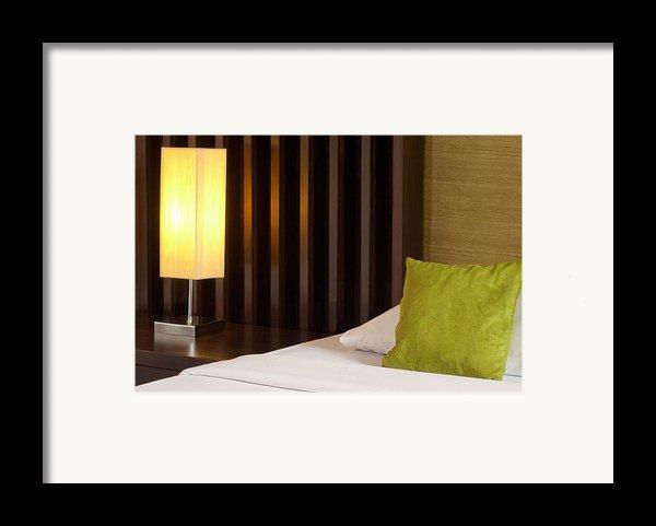 Lamp And Bed Framed Print By Atiketta Sangasaeng