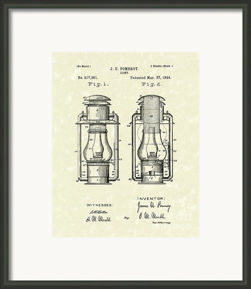 Lamp Pomeroy 1894 Patent Art Framed Print By Prior Art Design