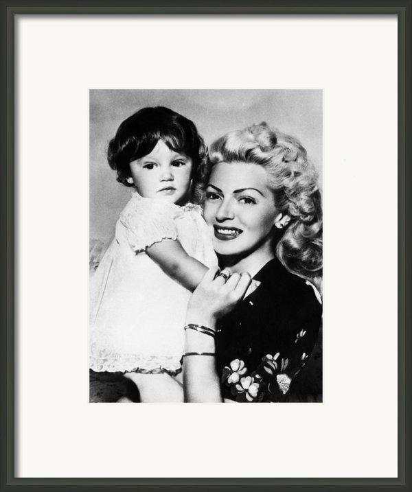 Lana Turner Right, And Daughter Cheryl Framed Print By Everett
