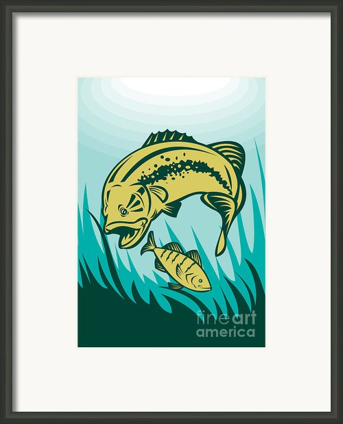 Largemouth Bass Preying On Perch Fish Framed Print By Aloysius Patrimonio