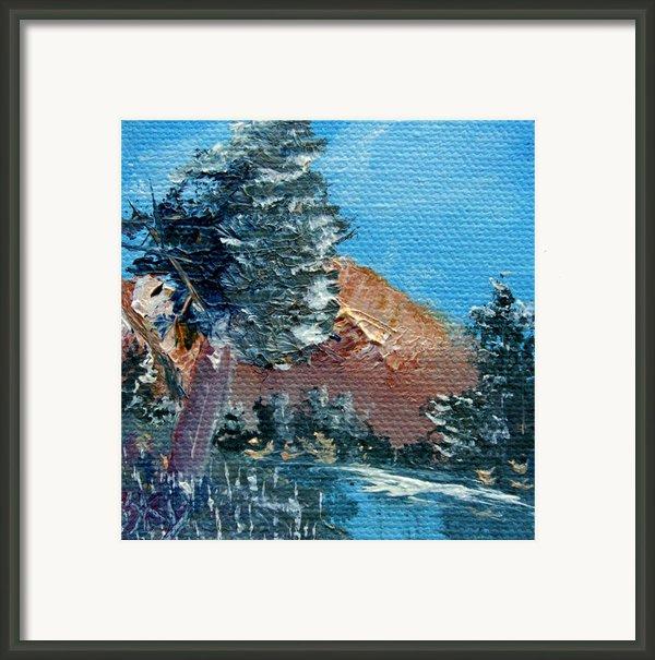 Leaning Pine Tree Landscape Framed Print By Jera Sky
