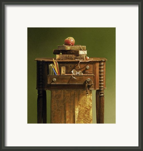 Leather Bound Framed Print By Barbara Groff