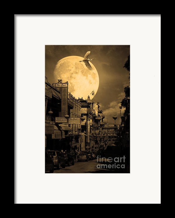 Legend Of The Great White Phoenix Of Chinatown . 7d7172 . Sepia Framed Print By Wingsdomain Art And Photography