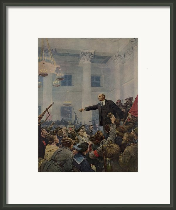 Lenin 1870-1924 Declaring Power Framed Print By Everett