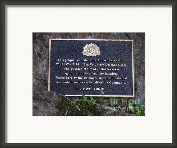 Lest We Forget Framed Print By Joanne Kocwin