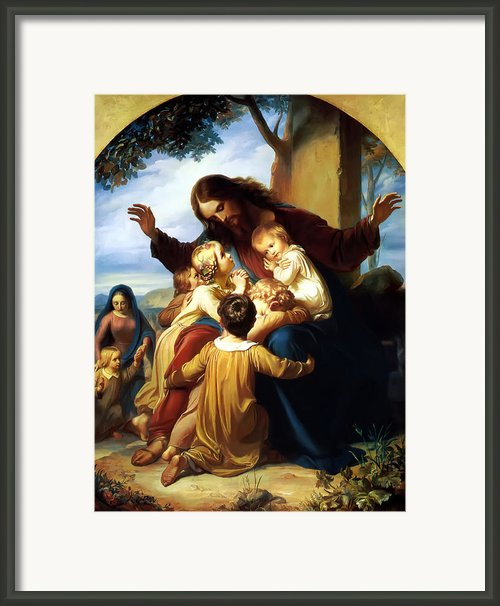 Let The Children Come To Me Framed Print By Carl Vogel Von Vogelstein