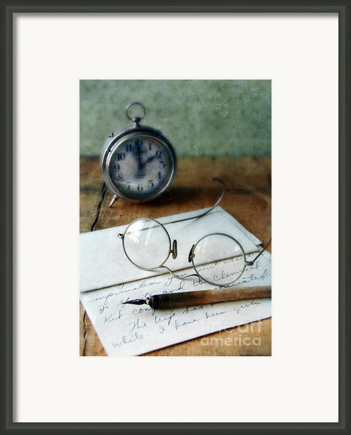 Letter Pen Glasses And Clock Framed Print By Jill Battaglia