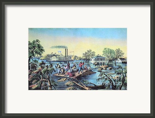 Life On The Mississippi, 1868 Framed Print By Photo Researchers