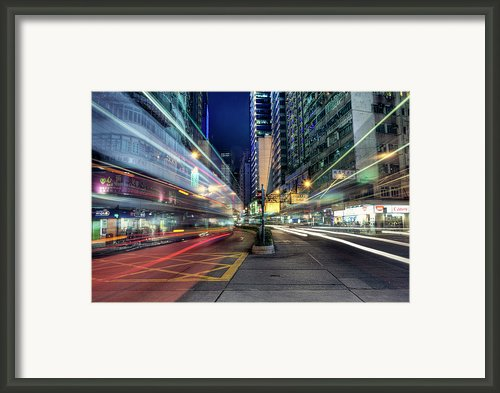 Light Trails On Street At Night Framed Print By Thank You For Choosing My Work.