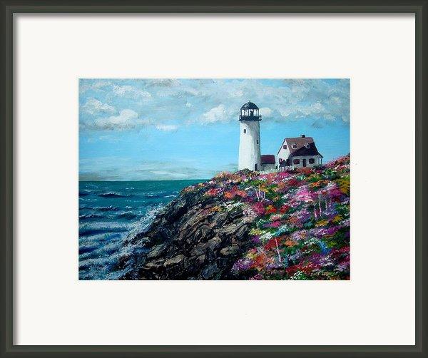 Lighthouse At Flower Point Framed Print By Jack Skinner
