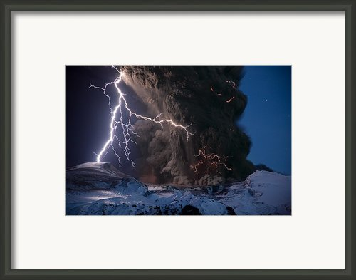 Lightning Pierces The Erupting Framed Print By Sigurdur H. Stefnisson